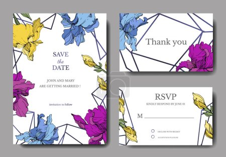 Illustration for Vector Blue, purple and yellow iris botanical flower. Engraved ink art. Wedding background card floral decorative border. Thank you, rsvp, invitation elegant card illustration graphic set banner. - Royalty Free Image