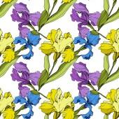Vector Iris floral botanical flower Seamless background pattern Fabric wallpaper print texture