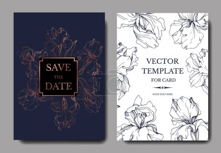 Illustration pour Cartes d'invitation de mariage de vecteur avec des iris et le lettrage - image libre de droit
