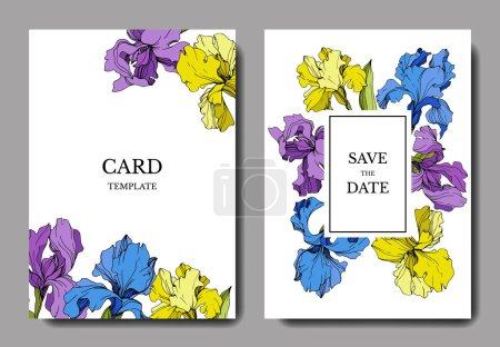 Illustration for Vector wedding invitation cards with irises and lettering - Royalty Free Image