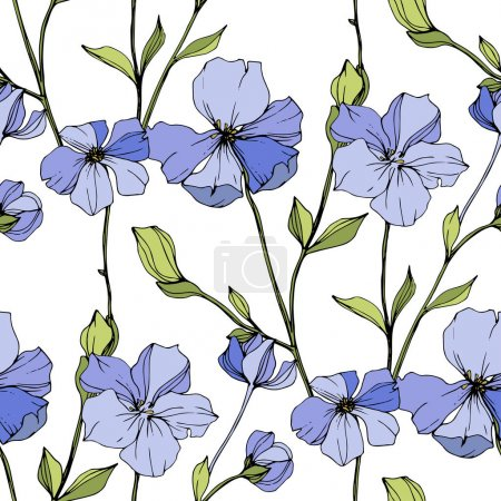 Illustration for Vector Blue flax. Floral botanical flower. Wild spring leaf wildflower isolated. Engraved ink art. Seamless background pattern. Fabric wallpaper print texture. - Royalty Free Image