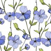 Vector Blue flax botanical flower Engraved ink art Seamless background pattern Fabric wallpaper print texture