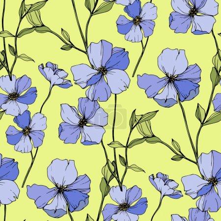 Vektor blauer Flachs botanische Blume. Tuschebilder. nahtlose Hintergrundmuster. Stoff Tapete drucken Textur.
