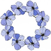 Vector Blue flax botanical flower Wild spring leaf wildflower Engraved ink art Frame border ornament square
