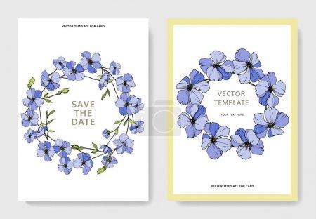Illustration pour Modèles de cartes d'invitation de mariage de vecteur avec l'illustration de lin. - image libre de droit