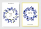 Vector wedding invitation cards templates with flax illustration