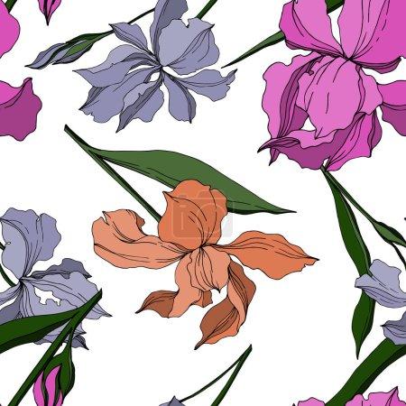 Ilustración de Flores botánicas florales Vector Iris. Hoja de primavera silvestre wildflower aislado. Arte de tinta grabada en blanco y negro. Patrón de fondo sin costuras. Textura de impresión de fondo de pantalla de tela. - Imagen libre de derechos
