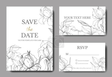 Vector Iris floral botanical flowers. Black and white engraved ink art. Wedding background card decorative border.