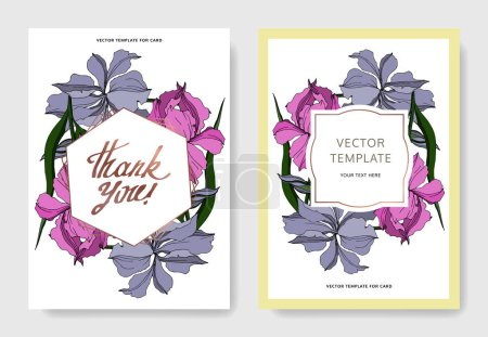 Illustration for Vector Iris floral botanical flowers. Black and white engraved ink art. Wedding background card floral decorative border. Thank you, rsvp, invitation elegant card illustration graphic set banner. - Royalty Free Image