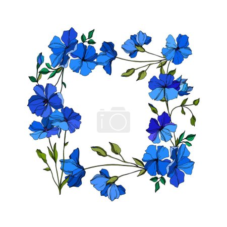 Illustration for Vector Flax floral botanical flowers. Wild spring leaf wildflower isolated. Blue and green engraved ink art. Frame border ornament square on white background. - Royalty Free Image