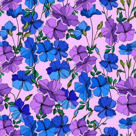 Vector Flax floral botanical flowers. Blue and violet engraved ink art. Seamless background pattern.
