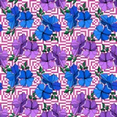Vector Flax floral botanical flowers Blue and violet engraved ink art Seamless background pattern