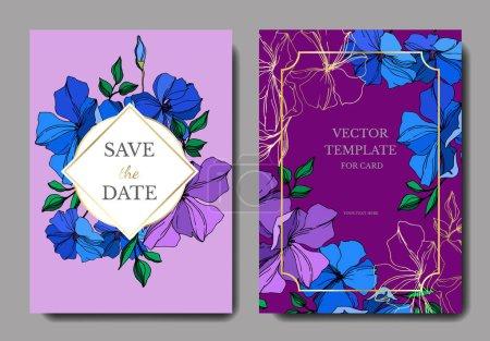 Illustration for Vector Flax floral botanical flowers. Violet and blue engraved ink art. Wedding background card floral decorative border. Thank you, rsvp, invitation elegant card illustration graphic set banner. - Royalty Free Image
