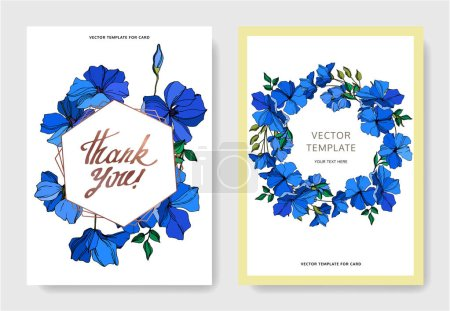 Illustration for Vector Flax floral botanical flowers. Blue and green engraved ink art. Wedding background card floral decorative border. Thank you, rsvp, invitation elegant card illustration graphic set banner. - Royalty Free Image