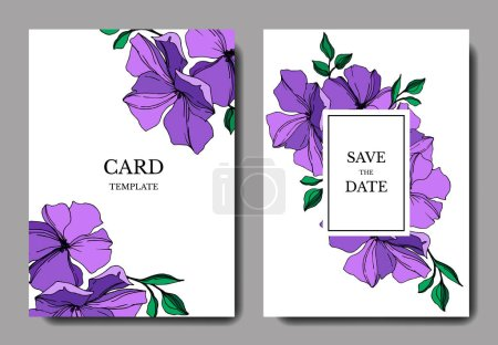Illustration for Vector Flax floral botanical flowers. Violet and green engraved ink art. Wedding background card floral decorative border. Thank you, rsvp, invitation elegant card illustration graphic set banner. - Royalty Free Image
