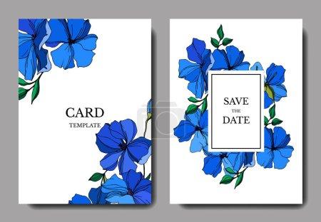 Illustration for Vector Flax floral botanical flowers. Blue and green engraved ink art. Wedding background card floral decorative border. Thank you, rsvp, invitation elegant card illustration graphic set banner. - Royalty Free Image