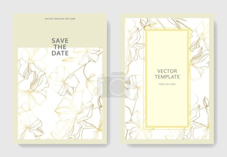 Illustration for Vector Flax floral botanical flowers. Golden engraved ink art. Wedding background card floral decorative border. Thank you, rsvp, invitation elegant card illustration graphic set banner. - Royalty Free Image