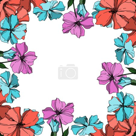 Illustration for Vector Flax floral botanical flowers. Wild spring leaf wildflower isolated. Black and white engraved ink art. Frame border ornament square on white background. - Royalty Free Image