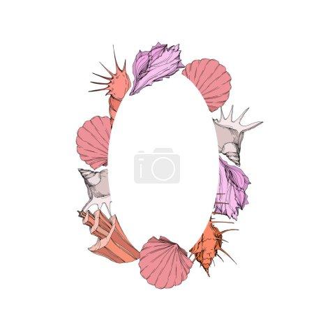 Illustration pour Éléments tropicaux de coquillages de plage d'été de vecteur. Art d'encre gravé. Carré d'ornement de bordure de cadre sur le fond blanc. - image libre de droit