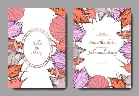 Illustration for Vector Summer beach seashell tropical elements. Engraved ink art. Wedding background card decorative border. Thank you, rsvp, invitation elegant card illustration graphic set banner. - Royalty Free Image
