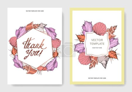 Illustration for Vector Summer beach seashell tropical elements. Engraved ink art. Wedding background card decorative border. Thank you, rsvp, invitation elegant card illustration graphic set banner. - Royalty Free Image