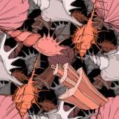 Summer beach seashell tropical elements Engraved ink art Seamless background pattern Fabric wallpaper print texture