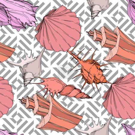 Illustration pour Éléments tropicaux de coquillage de plage d'été. Art d'encre gravé. Modèle de fond sans couture. Texture d'impression de papier peint de tissu sur le fond blanc. - image libre de droit