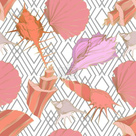 Illustration for Summer beach seashell tropical elements. Engraved ink art. Seamless background pattern. Fabric wallpaper print texture on white background. - Royalty Free Image