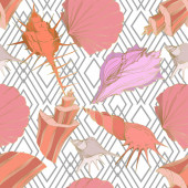 Summer beach seashell tropical elements Engraved ink art Seamless background pattern Fabric wallpaper print texture