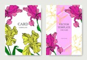 "Постер, картина, фотообои ""Vector Iris floral botanical flowers. Black and white engraved ink art. Wedding background card decorative border."""