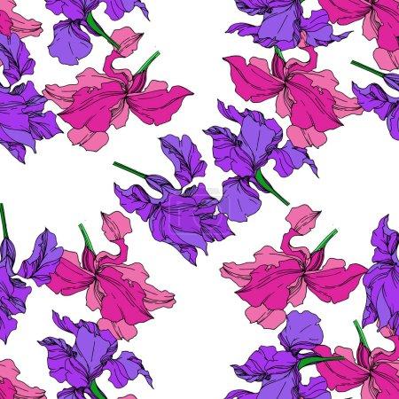 Illustration pour Fleurs botaniques florales de Vector Iris. Fleur sauvage de neige sauvage de feuille de source d'isolement. Art d'encre gravé noir et blanc. Modèle de fond sans couture. Texture d'impression de papier peint de tissu. - image libre de droit