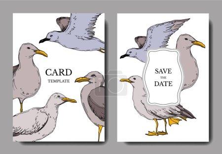 Illustration for Vector Sky bird seagull in a wildlife. Black and white engraved ink art. Wedding background card decorative border. Thank you, rsvp, invitation elegant card illustration graphic set banner. - Royalty Free Image