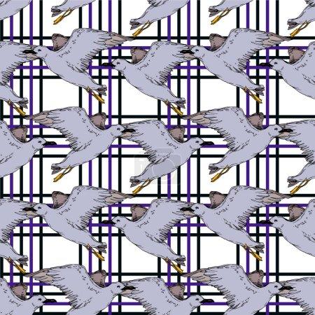 Illustration pour Mouette d'oiseau de ciel de vecteur dans une faune isolée. Liberté sauvage, oiseau avec des ailes volantes. Art d'encre gravé noir et blanc. Modèle de fond sans couture. Texture d'impression de papier peint de tissu. - image libre de droit