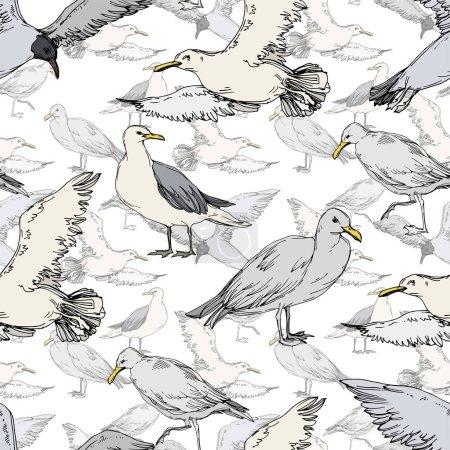 Ilustración de Gaviota de pájaro cielo en una vida silvestre. Libertad salvaje, pájaro con alas voladoras. Arte de tinta grabada en blanco y negro. Patrón de fondo sin costuras. Textura de impresión de fondo de pantalla de tela. - Imagen libre de derechos
