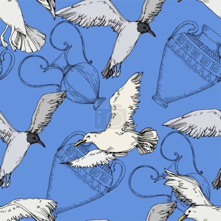 Illustration for Sky bird seagull in a wildlife. Wild freedom, bird with a flying wings. Black and white engraved ink art. Seamless background pattern. Fabric wallpaper print texture. - Royalty Free Image