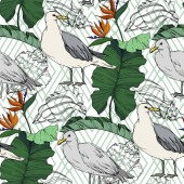 Sky bird seagull in a wildlife Black and white engraved ink art Seamless background pattern