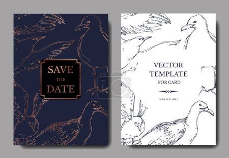 Illustration for Vector Sky bird seagull in a wildlife. Black and white engraved ink art. Wedding background card decorative border. Thank you, rsvp, invitation elegant card illustration graphic set banner. - Royalty Free Image