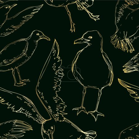 Illustration for Vector Sky bird seagull in a wildlife. Wild freedom, bird with a flying wings. Black and white engraved ink art. Seamless background pattern. Fabric wallpaper print texture. - Royalty Free Image