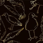 """Постер, картина, фотообои """"Vector Sky bird seagull in a wildlife. Black and white engraved ink art. Seamless background pattern."""""""