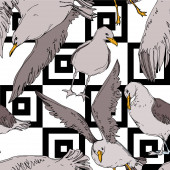 Vector Sky bird seagull in a wildlife Black and white engraved ink art Seamless background pattern