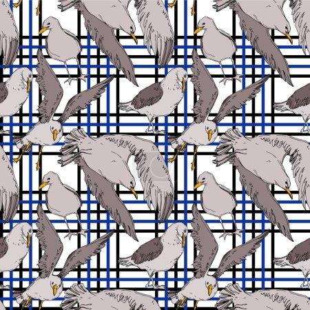 Illustration pour Vector Oiseau céleste mouette dans une faune sauvage. Liberté sauvage, oiseau aux ailes volantes. Encre gravée en noir et blanc. Modèle de fond sans couture. Texture d'impression papier peint tissu . - image libre de droit