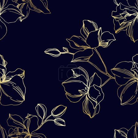 Illustration for Vector Orchid floral botanical flowers. Wild spring leaf wildflower isolated. Black and gold engraved ink art. Seamless background pattern. Fabric wallpaper print texture. - Royalty Free Image