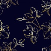 Vector Orchid floral botanical flowers Black and gold engraved ink art Seamless background pattern