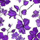 Vector Orchid floral botanical flowers Black and purple engraved ink art Seamless background pattern