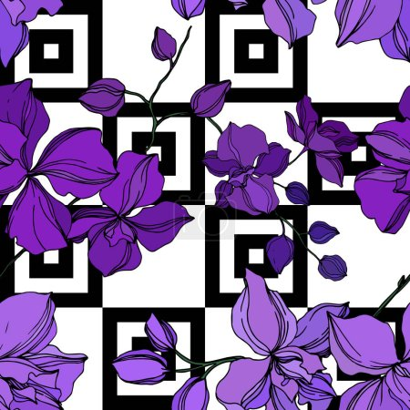 Illustration for Vector Orchid floral botanical flowers. Wild spring leaf wildflower isolated. Black and purple engraved ink art. Seamless background pattern. Fabric wallpaper print texture. - Royalty Free Image