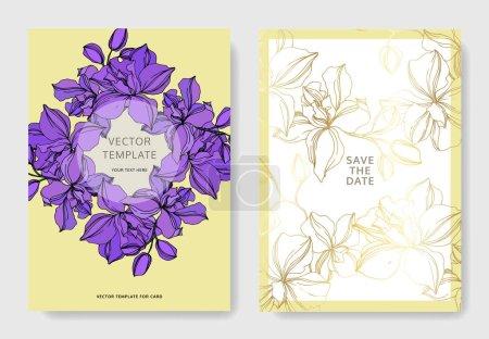 Illustration for Vector Orchid floral botanical flowers. Black and white engraved ink art. Wedding background card decorative border. Thank you, rsvp, invitation elegant card illustration graphic set banner. - Royalty Free Image