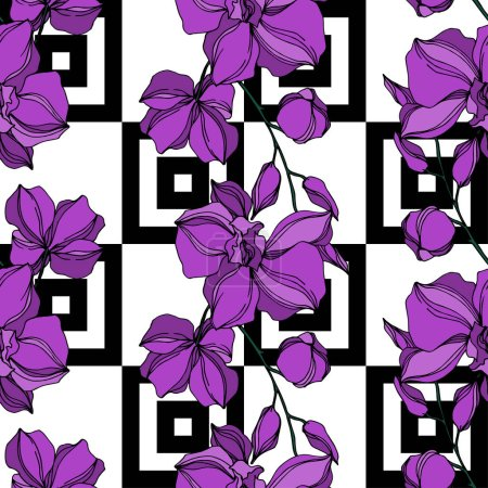 Illustration for Vector Orchid floral botanical flowers. Wild spring leaf wildflower isolated. Black and white engraved ink art. Seamless background pattern. Fabric wallpaper print texture. - Royalty Free Image