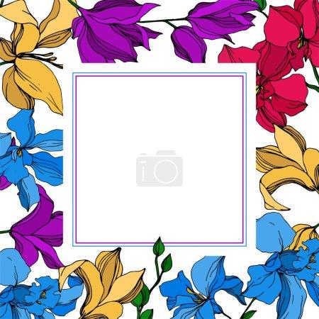 Vektorororchidee florale botanische Blumen. Schwarz-weiß gestochene Tuschekunst. Rahmen Rand Ornament Quadrat.