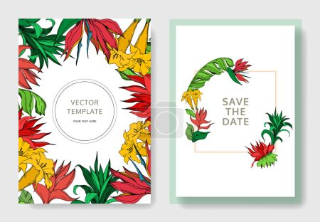 Illustration for Vector Palm beach tree botanical flowers. Black and white engraved ink art. Wedding background card floral decorative border. Thank you, rsvp, invitation elegant card illustration graphic set banner. - Royalty Free Image