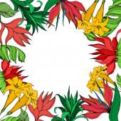 """Постер, картина, фотообои """"Векторная пальмовая пальма оставляет цветы джунглей. Черно-белые выгравированные чернила искусства. Рама границы орнамент площади."""""""